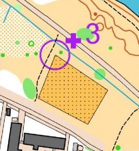 Kartta copywrite Turun Suunnistajat Tehtävärastin numero sijoitetaan sen kulku-uran varteen, jossa ns. katselutolppa sijaitsee.
